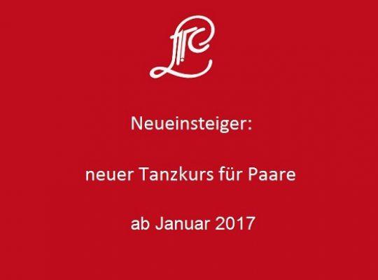 Ab Januar 2017: Neuer Tanzkurs für Paare